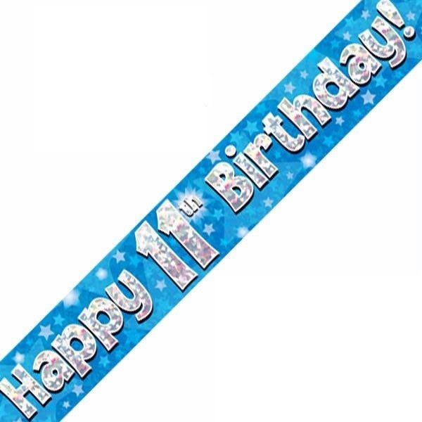 Happy 11th Birthday Banner Blue 9ft Holographic